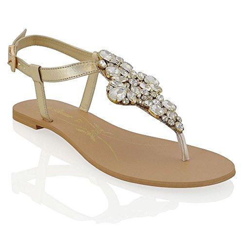 ESSEX GLAM Sandalo Donna Oro Vacanze Infradito T-Bar Finto Diamante EU 38