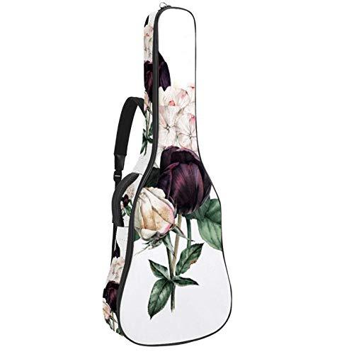 Paquete de guitarra acústica principiante tamaño completo de abeto superior Cutaway bolsa de guitarra acústica, hermosa flor