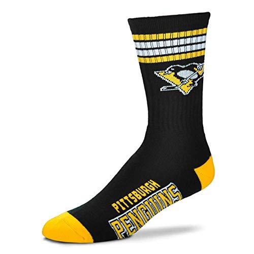 For Bare Feet Herren NHL 4 Stripe Deuce Crew Socken, Herren, Pittsburgh Penguins, Medium (5-10)