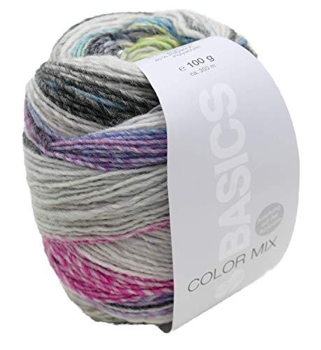 Lana Grossa Basics Color Mix 607, Wolle mit Strickanleitung für einen Loop, Farbverlauf Nadelstärke 4,5-5 mm, 100g ca. 350m