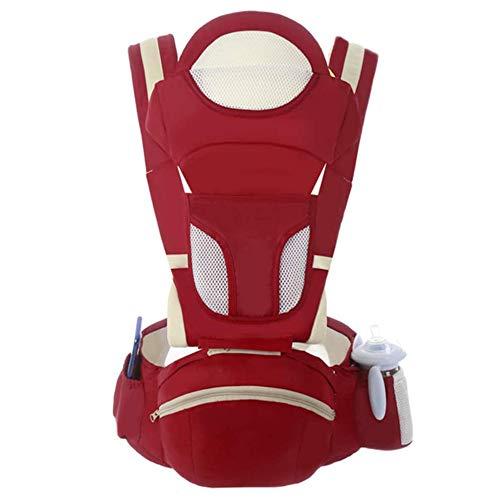 SXZZ Einstellbare Front Hug Babytrage Multifunctionfront Und Rucksack Babytrage Abnehmbare Sitzbabytrage Für Wanderungen Einkaufs Reisen,Rot