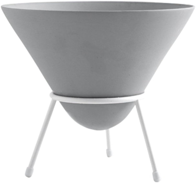 MBD Creative Ceramic Flower Rack Holder Indoor Desktop Iron Plant Stand Decoration (color   Grey)