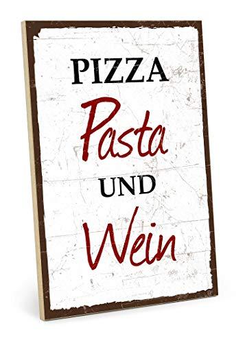 TypeStoff Cartel de madera con texto en inglés «Pizza Pasta Vino», estilo vintage con cita de regalo y decoración para la comida, el disfrute y la cocina