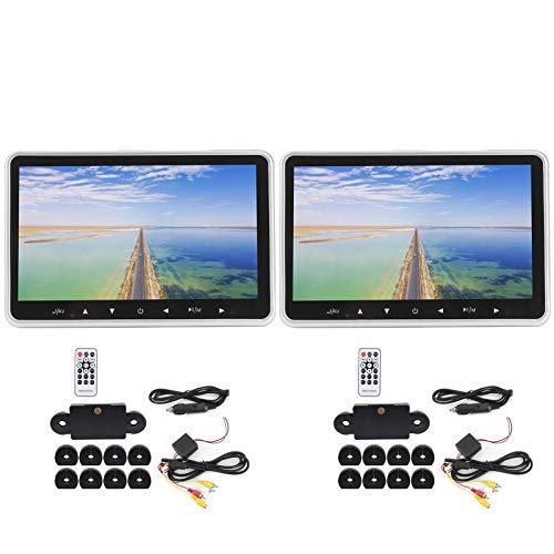 Akozon Monitor de reposacabezas universal para vehículos dobles Pantalla de 10,1 pulgadas HD 1080P compatible con tarjeta USB/TF HDMI integrado Transmisor FM 2 entradas AV para auto