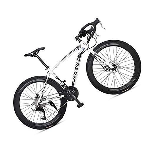 MIRC Road Bike Mountain Bike Racing Men's Aluminum Alloy Adult Ultra Light 700c Broken Wind Speed,White,L