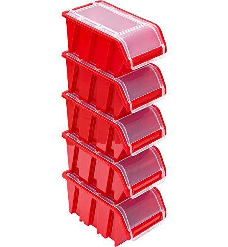 Stapelboxen Set – 5x Stapelbox mit Deckel 230x160x120 mm – Sichtbox Stapelbox Lagerbox, Rot