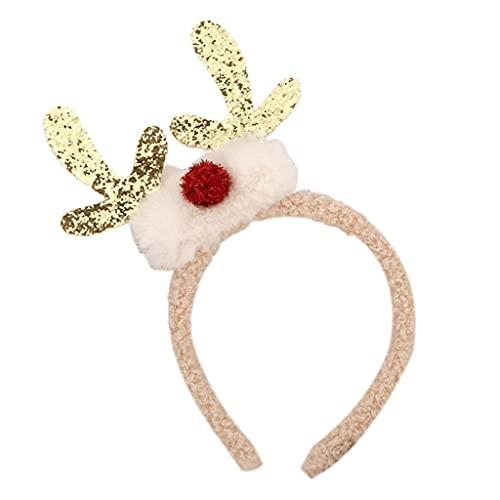 Y-POWER Diadema de peluche para mujer y niña, diseño de cuernos de reno con purpurina y pompón, nariz elástica para el pelo