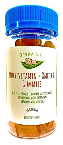 GreenKid Multivitamin Gummies + Omega 3, Non-GMO, Packed With 9 Vitamins and Minerals Including Omega 3, Natural Orange Flavoured Teddy Shaped Gummy, 30 Gummy Vitamins