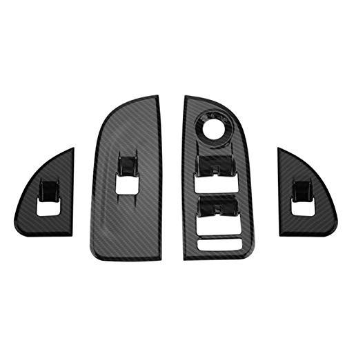 Interior Coche Fibra Carbono Control Ventana Interior Interruptor Elevación Cubierta Marco Pegatinas Ajuste para Alfa Romeo Giulia 2016 2017 2018 Estilo Coche Molduras