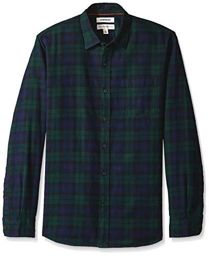 Amazon Brand - Goodthreads Men's Standard-Fit Long-Sleeve Brushed Flannel Shirt, navy black watch plaid, XX-Large