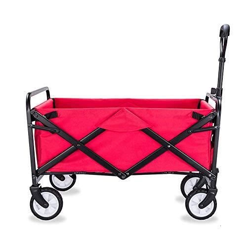 MNSSRN Klappbaren tragbaren Picknick Cart, Outdoor Angeln Cart, Old Man Grocery Einkaufswagen, große Kapazitäts-Einkaufswagen, Multifunktionsaußenwagen,Rot,L