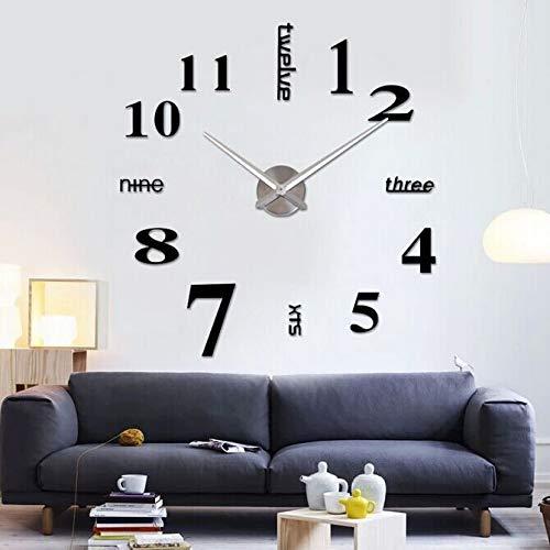 Eternity Equal Modern DIY Grote Wandklok Grote Horloge Sticker 3D Stickers Romeinse cijfers Wandklok Home Office Verwijderbare Decoratie voor Woonkamer (Batterij NIET inbegrepen), zwart met zilver