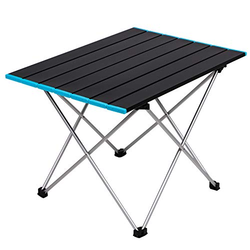 Stream Folding Camping Table with Carry Bag Lightweight Aluminum Alloy Desk Top Portable Table Roll Up Table Collapsible Picnic Table for Outdoor Camping Picnic BBQ Beach Fishing