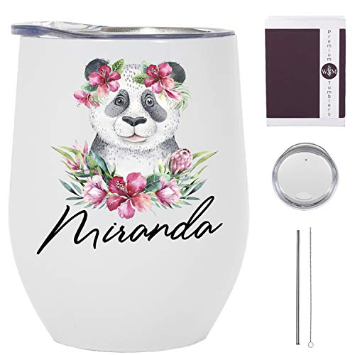 Panda Tumbler with Straw and Lid - 12 oz Stainless Steel Wine Tumbler - Personalized Panda Gifts for Panda Lovers - Panda Cup with Straw for Women - Dishwasher Safe - Made in the USA
