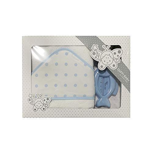 Duffi Baby 0930-12 - Maxicapa de baño bordada 100x100 cm. + termómetro, azul, niños