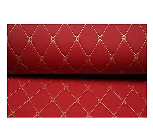 NIANTONG Tissu D'ameublement Matière Imitation Cuir Tissu, Simili Cuir, épaisseur Moyenne - Magnifique qualité - Tissu Faux Cuir - for Housses de siège de Voiture,Rouge