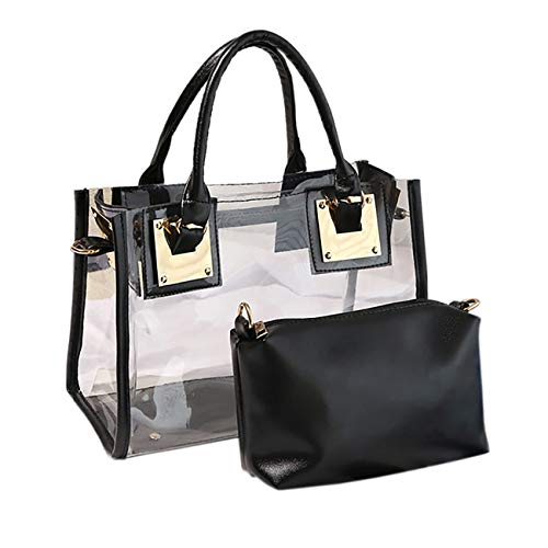 THEE Luxury Transparent Handbag Bag Black Jelly Purse Women Clutch Tote Sweet