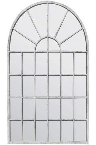 Espejo de Pared para jardín de Arco rústico de Color Blanco (tamaño Grande, 79 x 51 cm)
