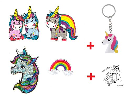 SET PRODUCTS  4 Parches Termoadhesivos de Unicornio + Llavero Unicornio - Iron-on Patches para Personalizar su Ropa o Bolsos - CREA tu Propio Estilo! - Varios Modelos Disponibles
