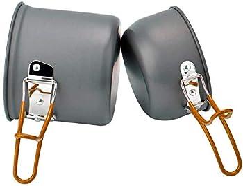 WISMURHI Batterie de Cuisine de Camping avec cuillère/Fourchette/Couteau Pliable en Acier Inoxydable pour 1 à 2 Personnes ? Équipement de Cuisine Portable pour feu de Camp en Acier Inoxydable (Vert)