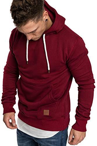 Amaci&Sons Herren Basic Kapuzenpullover Sweatjacke Pullover Hoodie Sweatshirt 4023 Bordeaux L