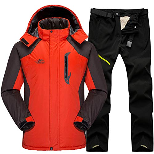 SR-Keistog Herren Snow Ski Jacken Set Outdoor Thermal Waterproof Windproof Snowboard Fleece Mäntel und Hosen Orange Black Set L