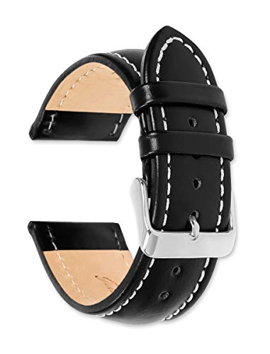 Oil Tanned Leather Replacement Watch Strap / Watch Band | 20mm Black