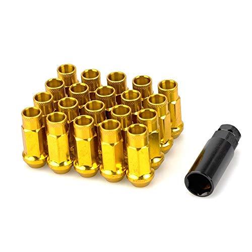 L-Yune, Bolzen 20 teile/satz Edelstahl 50mm M12 * 1,5 M12x1,25 Rennwagen Radmuttern Schrauben Mit Schlüssel for Subaru (Color Name : Golden, Specifications : M12x1.5)