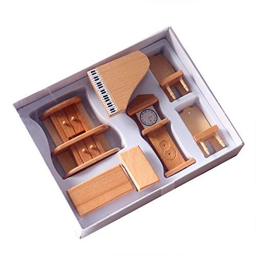 Sonoaud 1 Juego De Muebles En Miniatura DIY 3D Dormitorio De Madera Sala De Estar Comedor Cocina Casa De Muñecas Silla Mesa Gabinete Juego De Muebles para Niños B