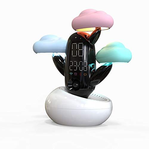 TL Wecker, Wolke Wetter Zeit Licht Smart Sensor Fun Wecker genauer Uhr Live-Voice Reminder Wetter Wecker,Weiß