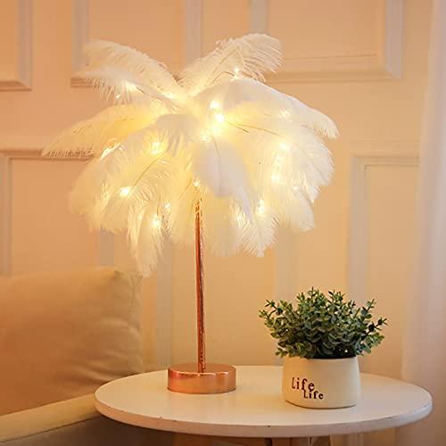 Lámpara de Mesa de Plumas Dormitorio de Noche lámpara de Noche Moderna Creativa Pluma Pantalla labrado Hierro USB decoración del hogar Lámpara de Mesa LED,Pure White