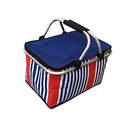 LANOUOGGK Picnic Basket -Grocery Basket- Laundry Basket -Market Basket-Insulated Strong Aluminum Frame Basket