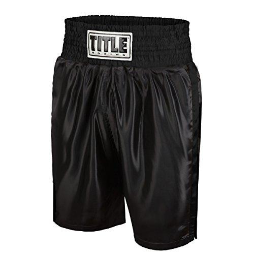 Title Edge Boxing Trunks, Black, Medium
