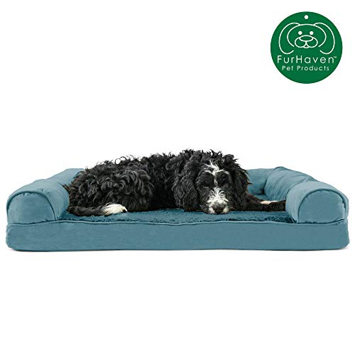 Furhaven Pet Dog Bed | Orthopedic Ultra Plush Faux Fur & Suede Traditional Sofa-Style Living Room Couch Pet Bed w/ Removable Cover for Dogs & Cats, Deep Pool, Large