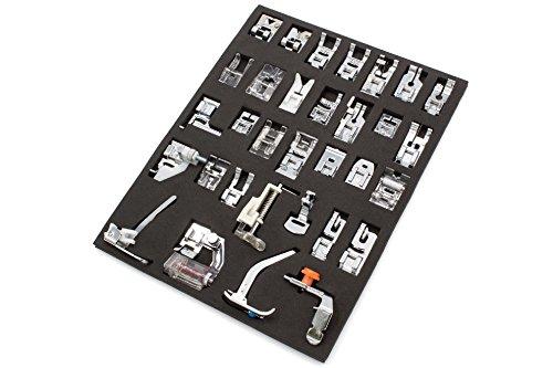 vhbw Nähmaschine Ersatzteile Nähfüße 32-teiliges Zubehör Set für Nähmaschine z.B. von AEG, Brother, Husqvarna, Janome, Juki, Pfaff, Singer, Toyota