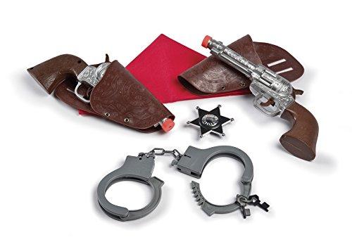 Voglio essere.un cowboy! Il set perfetto per sentirsi dei veri cowboy Tanti accessori inclusi: manette con chiavi, distintivo stella, due pistole con porta pistola e il foulard del cowboy! Adatto per bambini dai 3 anni di età
