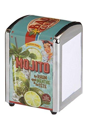 Natives servilletro Mojito servilletero, Tipo Bar Retro, Metal, Multicolor, 10x14x9 cm