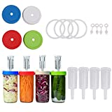 TIANTIAN Easy Fermentation Kit for Wide Mouth Mason Jars, 4Pcs Plastic Fermenter Lid with Airlock for Preserving, Fermenting Sauerkraut, Kimchi, Wine and Beer Making, 86mm Mouth Wide