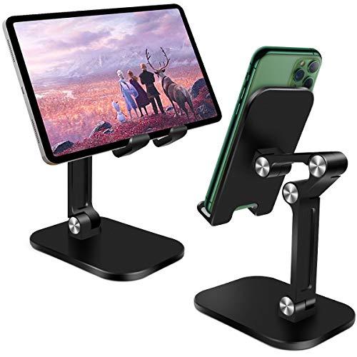 """HNOOM Porta Cellulare da Tavolo Regolabile Supporto Tablet Telefono Universale Supporto Cellulare Antiscivolo e Pieghevole Dock Telefono per Tablet, iPad, Kindle, iPhone[4""""-10.5  ] (Nero)"""