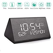 Wooden Digital Alarm Clock with 7 Levels Adjustable Brightness, Voice Command Electric LED Bedside Travel Triangle Alarm Clock, Display Time Date Week Temperature for Bedroom Office Home