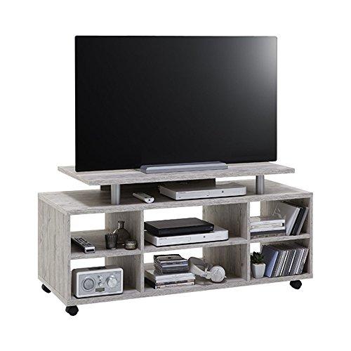 FMD Moebel 205-021 Variant 21 Meuble TV/HiFi avec 6 Compartiments Bois Chêne Sable 118 x 50 x 57 cm