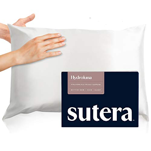 Sutera Hydroluna Premium Silk & Hyaluronic Acid Pillow Case - 22 Momme Mulberry Silk, Promotes Smoother Skin & Can Increase Hair Growth & Hair Thickness