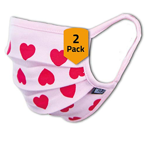 2er-Pack Mundschutz Kinder Junge & Mädchen waschbar, rosa pink mit Herzen | aus 100% Baumwolle Oeko-TEX 100 Standard Earloop-Design | wiederverwendbare Behelfs-Abdeckung für Mund Nase | Größe S