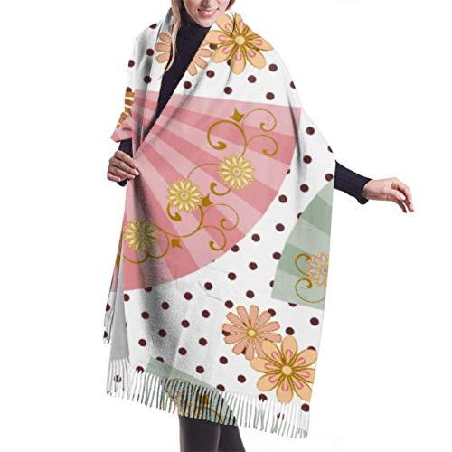 An Green Unisex Winterschal, Musterfächer Mehrfarbige Fächerblume Lange Große Warme Schals Wickelschal gestohlen