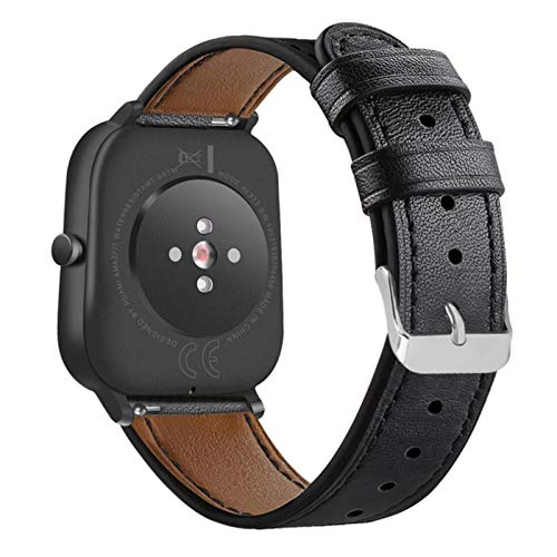 Cinturino in pelle per Xiaomi Amazfit Bip S Lite Pop Cinturino da polso Bracciale Correa per GTS GTS 2 2e Mini GTR 42 Orologio-Nero, per Amazfit Bip