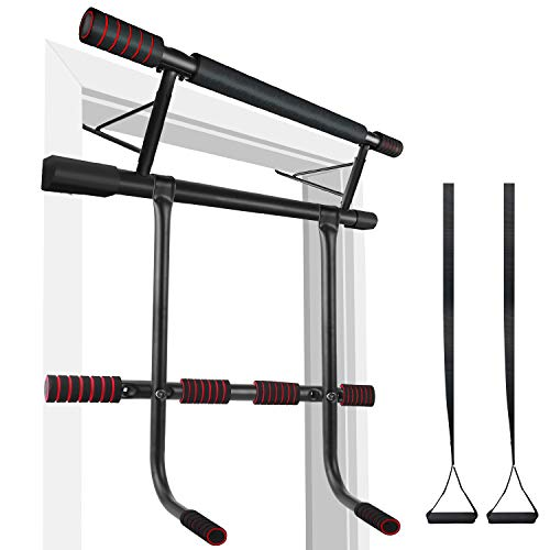 IDEER LIFE Pull Up Bar Doorway,Strength Training Chin Up Bars, All in One Doorway Trainer Exercise Bars,Fitness Chin-Up Frame Dips Bar & Power Ropes Ergonomic Grip Workout Trainer for Home Gym