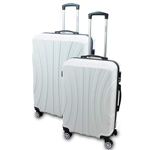 BERWIN® Kofferset L + XL 2-teilig Reisekoffer Trolley Hartschalenkoffer ABS Teleskopgriff Modell Strike (Weiß)