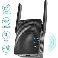 Repetidor de Red WiFi - Amplificador WiFi AC1200 Doble banda 5G & 2.4G, Extensor de Red WiFi con Puerto Gigabit Ethernet,Repetidor WiFi con WPS y Modo de Punto de Acceso,Cobertura de Señal Hasta 120㎡