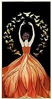 壁の写真ダンサーガール黄色いドレスキャンバス絵画肖像画現代人気アート家の装飾70x140cmフレームなし