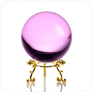 Amlong Crystal Pink Crystal Ball 60mm  2.3 inch  Including Golden Flower Stand and Gift Package